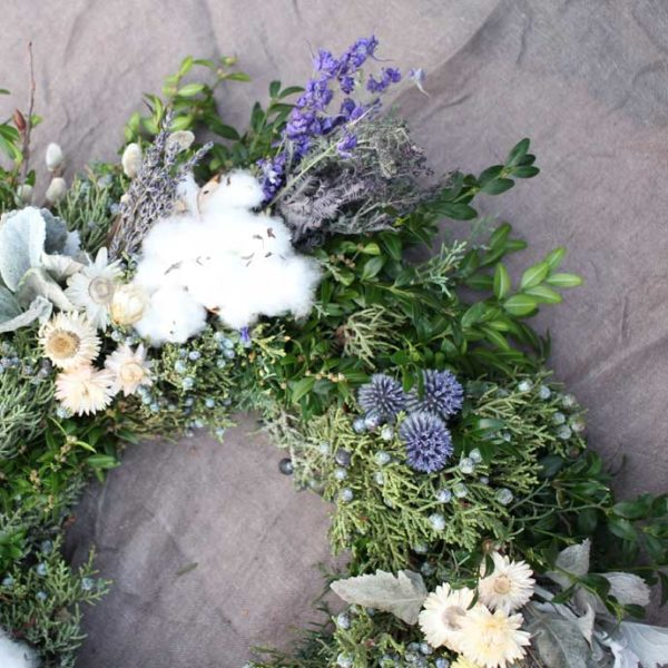 Detail 1 of Luxe wreath loaded with dried flowers - lavender, cotton, larkspur, strawflowers and fresh-evergreen-mix-cypress-boxwood-juniper-globe-thistle